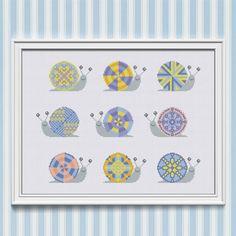 Baby Cross Stitch Pattern Colorful Snails Modern by NTstudio