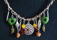 Tribal Inspired Gemstones Charm Necklace by LKArtChic on Etsy