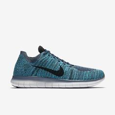Nike Free RN Flyknit Mens Running Shoes 9.5 Ocean Fog Black Blue Glow 831069 404 #Nike #RunningCrossTraining
