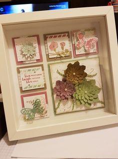 Framed sampler using the succulents. art stampin up 3d Box Frames, Box Frame Art, Shadow Box Frames, Collage Frames, Collages, Paper Succulents, Christmas Shadow Boxes, 3d Paper Crafts, Diy Crafts