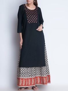 Buy Black Hand Embroidered & Sequin Detailed Cotton Kurta Apparel Tunics Kurtas Earthy Impressions Block Printed Online at Jaypore.com Kurta Patterns, Blouse Patterns, Indian Designer Outfits, Indian Outfits, Indian Dresses, Designer Dresses, Kurta Designs Women, Blouse Designs, Churidar Designs