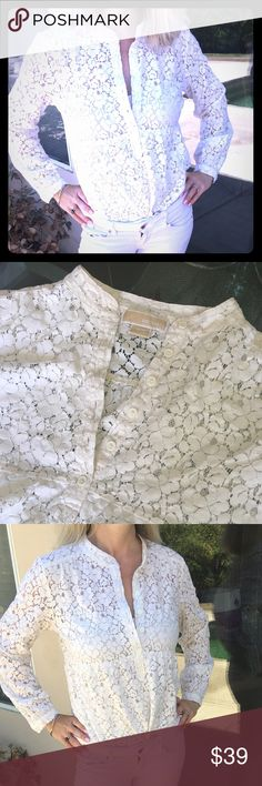 ✨Michael Kors White Lace Long Sleeved Blouse✨ Beautiful and feminine Michael Kors white lace blouse! Long sleeved, button up halfway, floral lace patterned. Very intricate and unique! In excellent condition!❤️🌟 MICHAEL Michael Kors Tops Blouses