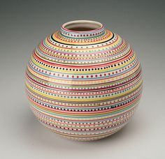 Large Stripes and Dots Orb Ball Vase