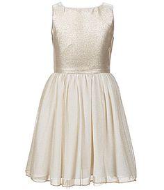 cd722b20465 GB Girls Big Girls 7-16 Sleeveless Glitter Fit-and-Flare Dress