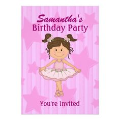 Pink Ballerina Stars and Stripes Birthday Party Custom Announcements Birthday Party Invitations, Birthday Parties, Ballerina Birthday, Pink Tutu, Youre Invited, Announcement, Special Occasion, Clip Art, Stripes