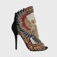 Balmain suede bootie with eagle embroidery