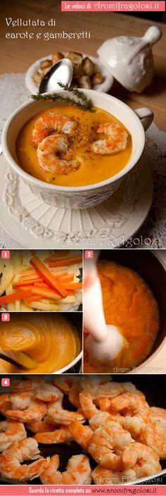 Vellutata di carote con code di gambero