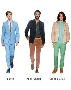 LET'S START WITH THE COLORS YOU'RE WEARING.  Think about updating them. Designers are all about a new palette of dusty pastels right now. In fact, men are embracing all kinds of things we once ignored.