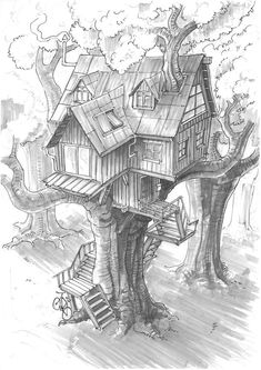 Ideas House Drawing Sketches Pencil For 2019 Tree Drawings Pencil, Art Drawings Sketches, Cool Drawings, Sketch Drawing, Sketching, Fantasy Drawings, Cad Drawing, Tree House Drawing, Drawing Trees
