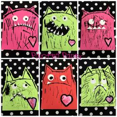 Love monsters...but look at those fun patterned backgrounds!