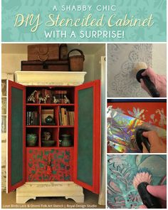 Stenciled painted furniture cabinet wood in living room kitchen pattern DIY project