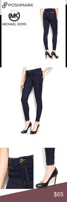 """🆕 Michael Kors Overdyed Indigo Skinny Jeans Designed with a curve-skimming cut and a flarreting dark was, MK jeans are just perfect for casual week days or elevated weekends. Skinny fit through hips and thighs. Skinny Leg . Front zipper fly with button closure. Dark was rinse. Cotton/Polyester/spandex. Size: 8 ( flat across top of pants approx.17"""" and 29"""" Inseam) I have included a MK size chart but that is a guideline and approx. measurements. Brand new with tags. Michael Kors Jeans Skinny"""