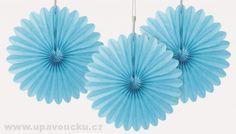 Papírové rozetky světle modré