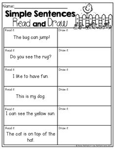 Simple Sentences (Read and Draw) Read the simple sentences and draw a picture to match is part of School reading - Reading Intervention, Reading Skills, Teaching Reading, Teaching Spanish, Teaching Ideas, Learning, Kindergarten Language Arts, Kindergarten Literacy, Literacy Centers
