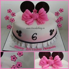"""Minnie Mouse Themed Cake...ADORABLE IDEA!!!!  But instead of the """"6""""...KAITLYN"""" And then a #2 candle at the top in front of the bow"""