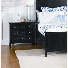 """One day I will like to get the nightstand to finish off the set. Magnussen Furniture""""South Hampton Three Drawer Nightstand in Black Dream Bedroom, Master Bedroom, 3 Drawer Nightstand, Nightstand Ideas, Black Painted Furniture, South Hampton, Apartment Living, Home And Living, The Hamptons"""