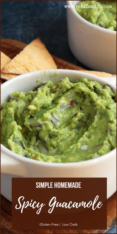 This guacamole recipe is so easy to make and perfect for snacks or appetizers, like spreading it on grain-free tortillas and adding your choice of protein and veggies for a tasty wrap, or dipping with veggies or grain-free tortilla chips. Grab the recipe! #homemadespicyguacamole #simplespicyguacamolerecipe #glutenfreespicyguacamole #grainfreespicyguacamole #lowcarbspicyguacamole #guacamole Spicy Guacamole Recipe, Tortilla Chips, Ketogenic Recipes, Clean Eating Recipes, Grain Free, Kids Meals, Whole Food Recipes, Food To Make, Tortillas