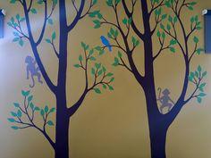 Monkey nursery mural, hand-drawn and painted by Wallflower Mural Works