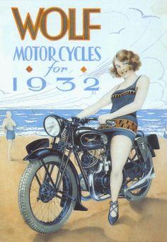 Vintage Wolf Advert Ad Poster, 1939 UK Motorbikes Motorcycle