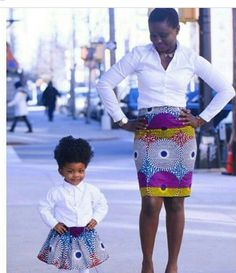 Too cute. Mommy and me outfits. Yes, Ankara chic!