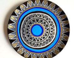 Evil Eye Decor Decorative Plate Blue Evil Eye by biancafreitas Boho Dekor, Tribal Decor, Evil Eye Charm, Blue Plates, Decorative Plates, Mandala, Hand Painted, Wallet, Vintage