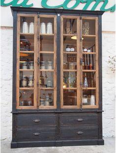 Kitchen Display Cabinet, Cabinet Decor, Distressed Wood Furniture, Industrial Furniture, Paint Furniture, Furniture Makeover, Ikea Shelving Unit, Plywood Storage, Muebles Living
