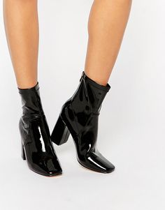 Image 1 of Truffle Collection Harp Sock Heeled Ankle Boots