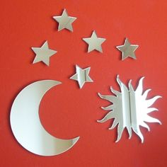set comprising 1 sun 1 moon and 5 stars the sizes shown are the