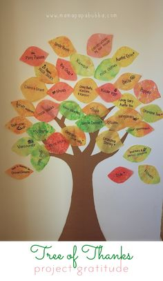 Tree of Thanks Activity for the kids. Perfect for Thanksgiving!
