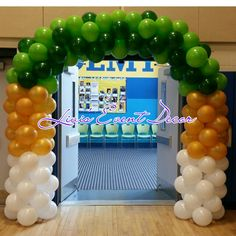 Green Gold and White Balloon Arch