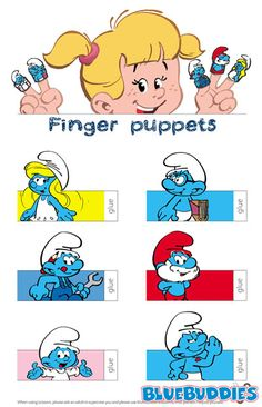 Printable Smurf Finger Puppets Birthday Coloring Pages, Coloring Book Pages, Paper Toy, Paper Dolls, Cardboard Design, Puppet Crafts, Smurfette, Brownie Girl Scouts, Cute Clipart
