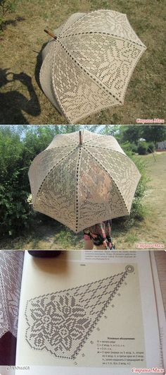 Umbrella a hook - Knitting - the Country of Mothers // Марина Купцова Crochet Chart, Knit Or Crochet, Crochet Motif, Irish Crochet, Crochet Designs, Crochet Doilies, Crochet Stitches, Knitting Patterns, Crochet Patterns
