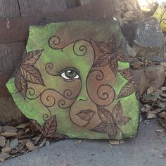 NATURE FACE garden decor hand painted flagstone rock with