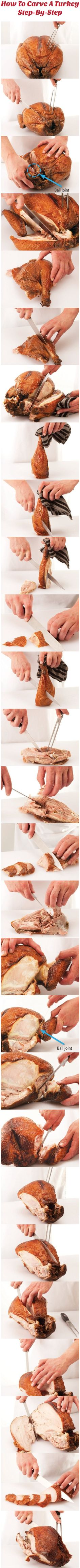 Hosting your first #Thanksgiving dinner? Check out these step-by-step #turkey #carving instructions! holiday, turkey carv, idea, food, recip, kitchen, stepbystep turkey, trick, christma