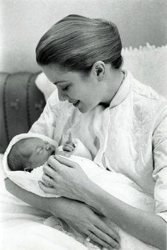 Princess Grace with newborn Caroline.