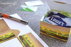 Think outside the box with a easy and quick #printable #cheeseburger #giftbox   instructions on CherylStyle.com