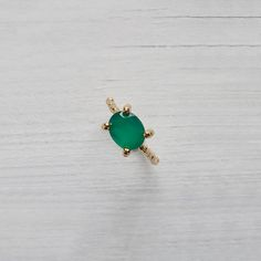 14 Karat Gold & green Agate Solitaire Ring Classic by ShiriAvda, $511.00
