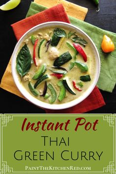 Instant Pot Thai Green Curry is a creamy coconut curry. The flavors of green chilies, Thai Basil, lime, coriander, cumin combine to rival your favorite Thai takeout green curry. It's so easy to make that it can be ready in less than 20 minutes! Soup Recipes, Chicken Recipes, Cooking Recipes, Healthy Recipes, Whole30 Recipes, Healthy Breakfasts, Healthy Snacks, Best Instant Pot Recipe, Instant Pot Dinner Recipes