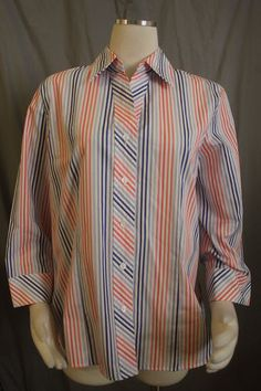 Foxcroft Fitted Sz 14 Multi Color Stripe Button Front Shirt Cotton Wrinkle Free | eBay