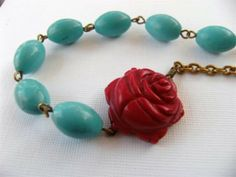Necklace Carved Coral Rose and Turquoise Stone by TheSilverDog, $30.00