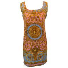 1992 Gianni Versace Medusa Baroque Atelier Print Mini Dress