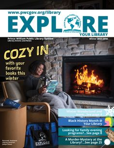 Winter Magazine with original photograpy featuring asst. Library Events, Black History Month, Public, Magazine, Graphic Design, Winter, Winter Time, Warehouse, Magazines