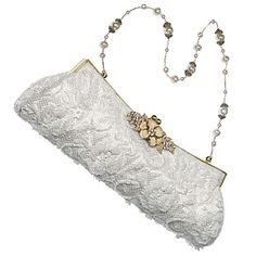 Brides: Todd Anthony. An ivory lace beaded bag with crystal and pearl chain looks very ladylike, $235, by Todd Anthony, 516-742-6613. www.MadamPaloozaEmporium.com www.facebook.com/MadamPalooza