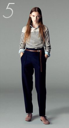 Stripe x jeans shirt x boyfriend pants (would put stripe under jean shirt..)