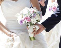Cream and pink David Austin with purple roses & Dusty Miller bridal bouquet #sunpetalsflorist
