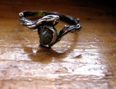 My Diamond In the Rough Dark Angel handmade raw diamond uncut bohemian sterling silver twig ring 1/2 size 3 4 5 6 7 8 9 10 half fine jewelry on Etsy, $72.98