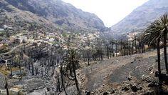 El horror: Valle Gran Rey quemado. En La Gomera.