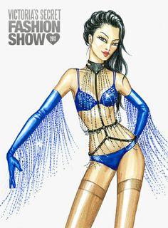 Illustration by Jane Kennedy for the Victoria's Secret Fashion Show 2013, Paris Nights www.janelkennedy.com