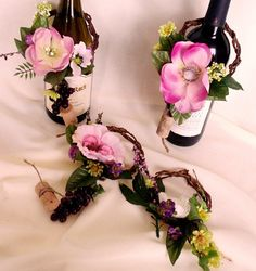 Wedding Centerpiece Ideas On A Budget/ wine bottles | Shabby Chic Wedding Centerpieces Wine Bottle toppers 10 Piece Set Pink ...