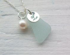 Sea Glass and Hand stamped Sterling Silver Necklace $36